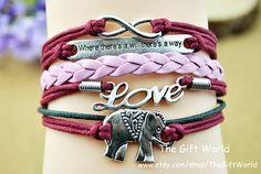 Red Infinity braceletElephants braceletLight blue by TheGiftWorld, $4.99 Personalized fashion handmade bracelet,the best gift of friendship.