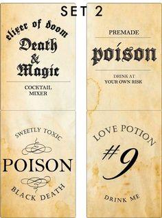 Halloween Poison Labels Wine Label Beer Label par blushprintables