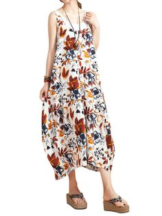 O-NEWE Chiness Style O-neck Sleeveless Floral Printed Dresses