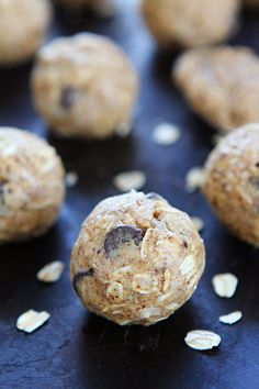 Almond Butter Oat Balls Recipe on twopeasandtheirpod.com These easy, healthy, no-bake almond butter energy bites can be made in 10 minutes! They are great for breakfast, snack time, or dessert!