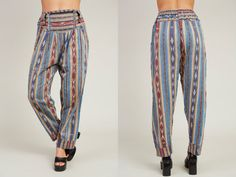 1990s Blue Red and Yellow Chinle Stripe Pattern Cotton Boho Harem Pants  M by SoftServeVintage