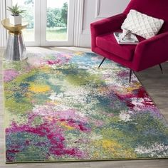 Safavieh Watercolor Contemporary Green/ Fuchsia Rug (8' x 10') | Overstock.com Shopping - The Best Deals on 7x9 - 10x14 Rugs