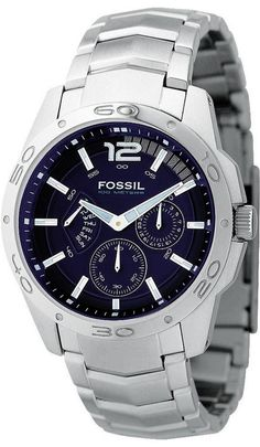 Fossil Men's BQ9346 Stainless Steel Bracelet Blue Analog Dial Multifunction Watch < $72.91 > Fossil Watch Men