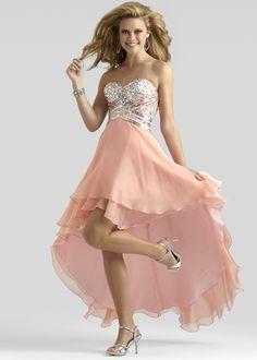 Clarisse 2317 Peach Strapless Hi-Lo Dress