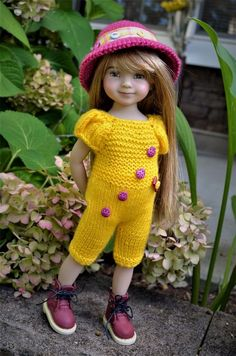 "Dianna Effner 13"" Little Darling OOAK Hand Knit 2pc OUTFIT for Summer Wear #DiannaEffner"