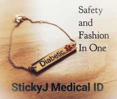 Visit StickyJ Medical ID online for engravable medical alert jewelry that's stylish and modern.   #diabetes #medical #bracelets #healthcare #safety #healthyliving #rosegold #jewelry #medicalID #medicaljewelry #diabetic