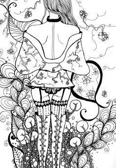 """""""Blossom"""" - pen and ink drawing, Adult Colouring Book Series 2012"""