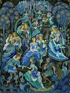 The Worn-Out Dancing Shoes  from Palekh by Vera Smirnova based on the Brothers Grimm fairy tale