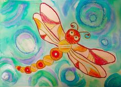 A Finished Art Lesson Art Lessons For Kids, Art Lessons Elementary, Art For Kids, Minibeast Art, Summer Art Projects, Class Projects, 2nd Grade Art, Fourth Grade, Dragonfly Wall Art