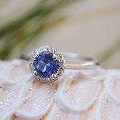 """A stunning """"something blue"""" engagement ring ~ we ❤ this! moncheribridals.com"""