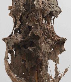 "Kristen Morgin, ""Cello #2"" (detail), unfired clay, wood, wire, 2001"