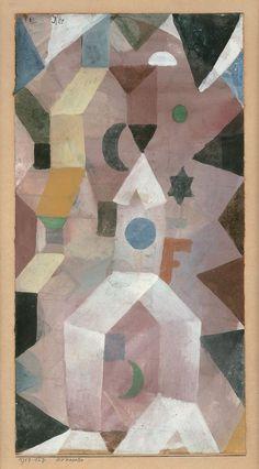 Paul Klee, La chapelle, 1917. Aquarelle et détrempe blanche sur papier sur carton, 29,5 x 15 cm Photo: Peter Schibli, Basel. http://www.fondationbeyeler.ch/fr/collection/paul-klee#