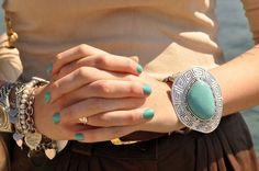 Mint nail polish and ring