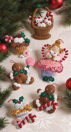 Amazon.com: Bucilla Christmas Ornament Felt Applique Kit, Cupcake Angel, Set of 6: Home & Kitchen