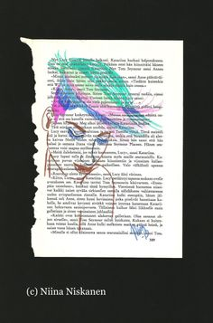 Parrot Hair Original Fashion Illustration $88 Glorious fashion illustration was drawn with markers. Inspired by some cool hairstyles. I like to draw on old book pages. I got this one from the used bookshelf from the library and you can see some Finnish text on the background. Makes lovely decoration to your home: living room, bedroom, office etc and a wonderful gift for yourself or someone special. Signed and dated by the artist. Measures: 21 x 29 cm / 8 x 11 inches. Guaranteed original… Original Artwork, Original Paintings, Old Book Pages, Ikat, Painting & Drawing, Cool Hairstyles, Markers, Wall Art, Cool Stuff