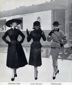 Side by side comparison of outfits suitable for the train in 1951 - Balenciaga, Christian Dior, Jean Desses