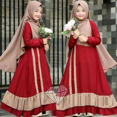 Muslim Fashion, Hijab Fashion, Fashion Dresses, Little Girl Fashion, Kids Fashion, Womens Fashion, Kids Outfits Girls, Girl Outfits, Dress Anak