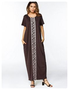 Patched Trim Maxi Dress (Coffee)