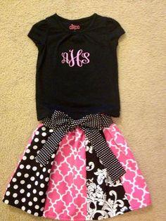 Little Girls Skirt and matching monogrammed shirt,Custom Made Girl's Skirt with monogrammed shirt, Matching skirt and monogrammed shirt set on Etsy, $47.95