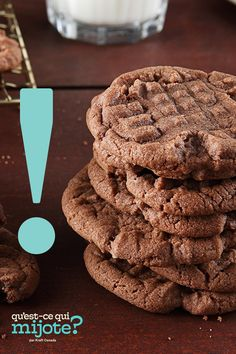 Biscuits au cacao et aux noisettes #recette Chocolate Hazelnut Cookies, Chocolate Recipes, Biscuits Au Cacao, Biscuits Croustillants, Classic Peanut Butter Cookies, Thin Mint Cookies, Hazelnut Spread, My Dessert, Cooking Recipes