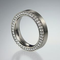 Quadrum - A Distinctive Collection of Artists Jewelry - Wedding Bands - Henrich & Denzel platinum diamond cylinder band