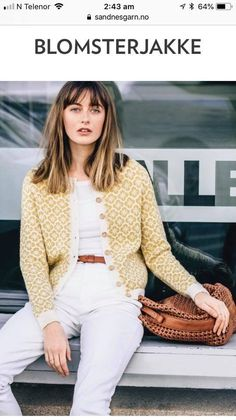 Ravelry: Blomsterjakke pattern by Sandnes Garn Knitting Designs, Knitting Projects, Knitting Patterns, Cardigan Pattern, Knit Cardigan, Yarn Inspiration, How To Purl Knit, Fair Isle Knitting, Pullover