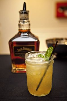 Jack Daniel's Single Barrel Smash from our Club Open House.  11/2 oz. Jack Daniel's Single Barrel  1/2 oz. Lemon Juice  1/4 oz. Sugar Syrup  8 mint leaves  (Photo credit: Anne Rhett).  I do not drink it but it's beautiful and would be a great party drink