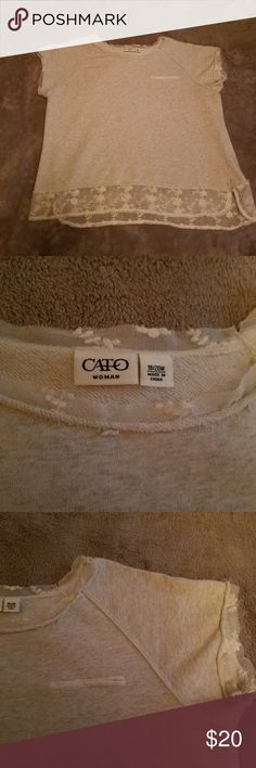 Cato Ladies Distresses Sweatshirt w/ Lace This is a really fun shirt. It's made of lightweight sweatshirt material and is trimmed in white lace; Shirt IS DISTRESSED (NOT OLD, lol).  Size is 18/20. Pocket is for visual only (not really a pocket). Cato Tops