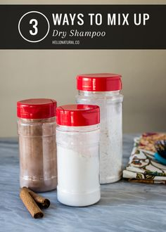 3 DIY Dry Shampoo Recipes | HelloNatural.coFOR LIGHT-COLORED HAIR  1/4 cup cornstarch 1 tsp cinnamon 3 drops lavender essential oil empty baby powder or spice container