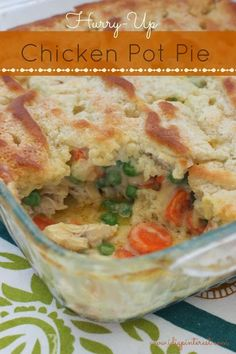 Hurry-Up Chicken Pot Pie. Had a busy day? Theres still time for a yummy homemade dinner! This Chicken Pot Pie is made for those nights when you come home exhausted and hungry and need something in a hurry. Chicken Pot Pie Casserole, Easy Chicken Pot Pie, Casserole Dishes, Chicken Recipes, Chicken Soup, Casserole Recipes, Creamy Chicken, Hamburger Casserole, Chicken Potpie