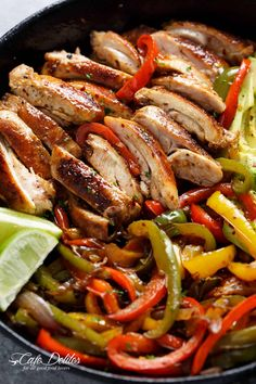 The BEST chicken fajitas are so quick to throw together! Chicken gets marinated in the best juicy lime marinade, then seared for that unmistakeable crisp-charred outer edge! Serve with onions and bell pepper strips! Steak Fajitas, Fajita Marinade, Fajita Seasoning, Healthy Chicken Dinner, Healthy Dinner Recipes, Mexican Food Recipes, Cooking Recipes, Cooking Food, Zucchini