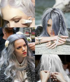 left and right corner tho Grey White Hair, Black Hair, Dip Dye Hair, Hair Shades, Clip In Extensions, Aged To Perfection, Silver Hair, Hair And Nails, Wigs