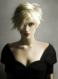 Morgen Fisher Added by Eric Fisher Academy. I like the choppy edgy look of this style Edgy Haircuts, Haircuts For Fine Hair, Messy Hairstyles, Pixie Haircuts, Short Hair Lengths, Short Hair Cuts, Short Hair Styles, Edgy Long Hair, Blonde Pixie Cuts