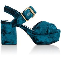 Prada Women's Crushed Velvet Platform Sandals ($825) ❤ liked on Polyvore featuring shoes, sandals, turquoise, high heel platform sandals, platform sandals, strappy platform sandals, crisscross sandals and criss cross strap sandals
