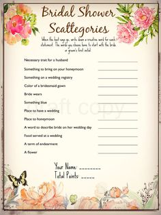 Bridal Shower Game- Scattegories