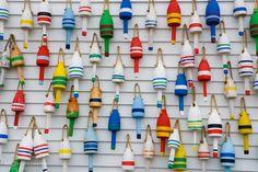 wooden lobster buoys