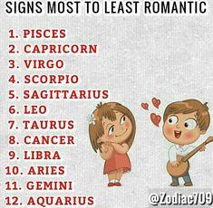 most to least romantic zodiac signs, aries, taurus, gemini, cancer, leo, virgo, libra, scorpio, sagittarius, capricorn, aquarius, pisces