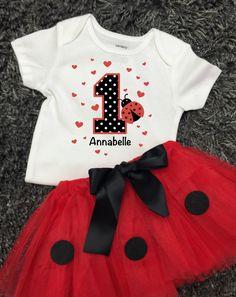 Birthday Girl Tutu Outfit Ladybug Personalized Kids T-shirt 1st Birthday 2nd Birthday 3rd Birthday by FunMunchkin on Etsy