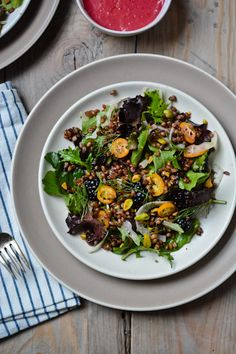 scaling back - freekeh salad with blackberry vinaigrette