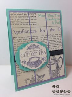 Stampin' Up!, Tea Party, Afternoon Picnic DSP, Labels Collection Framelits, Basic Gray 3/8 Satin Ribbon (Vintage)