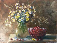 """#живопись #oilpainting #полевыецветы #подарокручнойработы #КрасовскаяКупить Картина маслом """"Вкус детства"""" - букет, полевые цветы и травы, ягоды, вишня, натюрморт"""