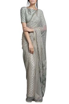 Buy Ivory beige saree with light green blouse by SVA by Sonam & Paras Modi at Aza Fashions Blouse Designs High Neck, Saree Blouse Designs, Blouse Patterns, Ethnic Fashion, Indian Fashion, Saree Fashion, Trendy Outfits, Fashion Outfits, Fashion Clothes