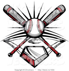 Crossed Baseball Bats Logo. Baseball Bats Image with Baseball ...