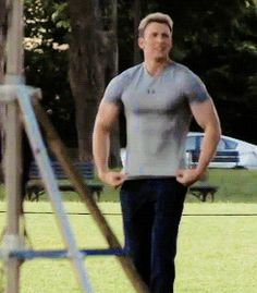 Chris Evans on the set of Captain America Winter Soldier.