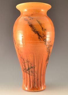 Orange Horsehair Pottery Raku Vase