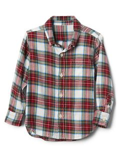 Gap Baby Plaid Flannel Button-Down Shirt Chalk