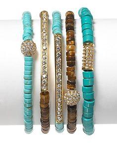 Michael Kors Bead Pave Bar Turquoise Bracelets