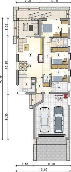 Dom parterowy z garażem, na wąską działkę - Studio Atrium Garages, Home Projects, Planer, My Dream, House Plans, Sweet Home, Floor Plans, Construction, Slim