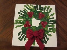 Hand wreaths! One of my kids used dark green and other light green so it was a project from both of them. So easy and it makes a great present for the grandparents!