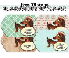 Free Vintage daschund Tags by Free Pretty Things For You! This is my new favorite site for vintage images! <3 it!!